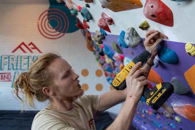 Tim Building a Climbing Gym in JHB